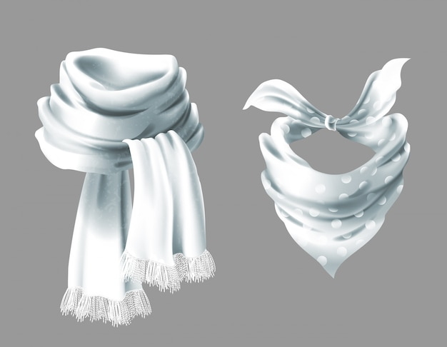 3d realistic silk white scarf. fabric cloth of dotted neckerchief. Free Vector