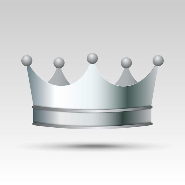 3d realistic silver crown. Premium Vector
