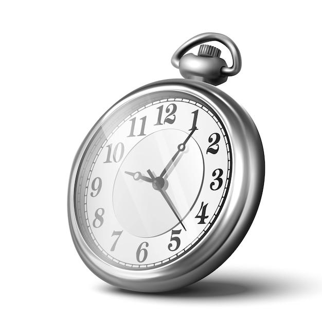 3d реалистичные серебряные ручные часы, спидометр. изолированные на белом фоне, значок иллюстрации. Premium векторы