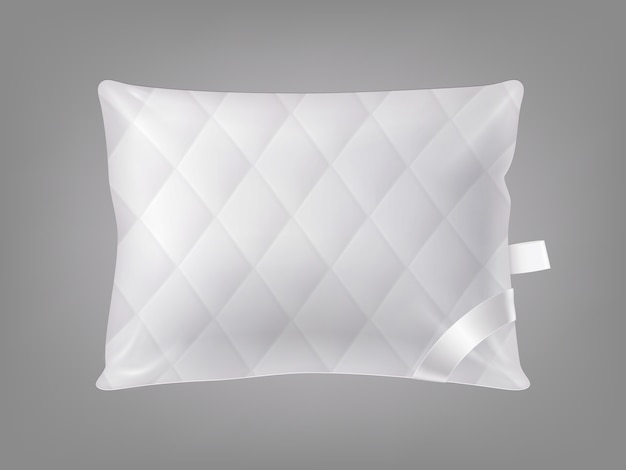 3d realistic stitched comfortable square pillow. template, mock up of white fluffy cushion Free Vector