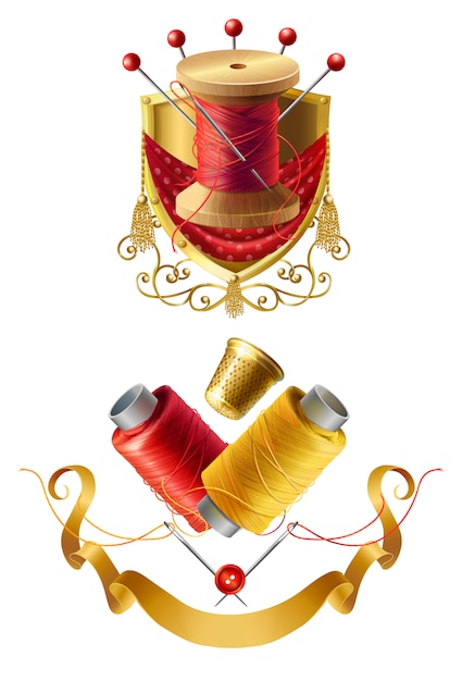 3d realistic tailor emblems. icon of royal atelier with wooden reel with threads, needles for Free Vector
