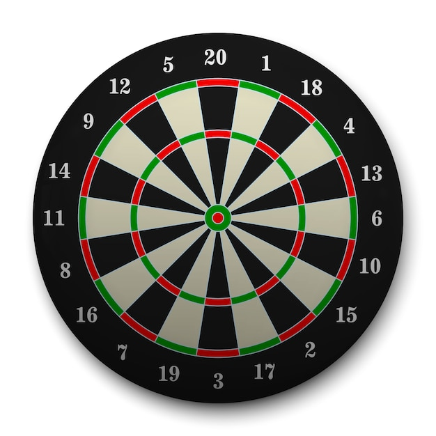 3d realistic target for darts. Premium Vector