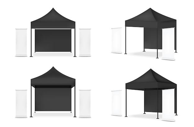 판매 마케팅 프로모션 전시 배경 일러스트 레이션을위한 배너와 함께 3d 현실적인 텐트 디스플레이 Pop 부스 프리미엄 벡터