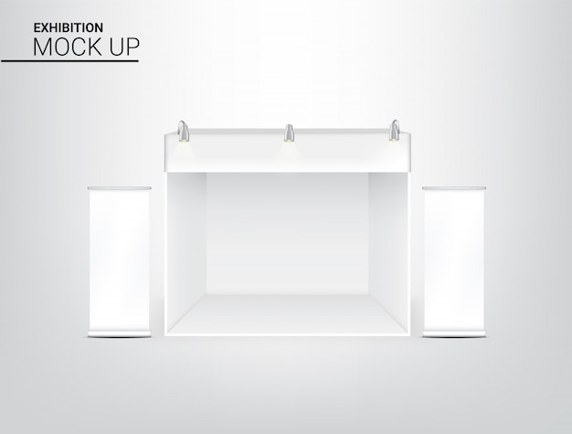 3d realistic tent display pop booth Premium Vector