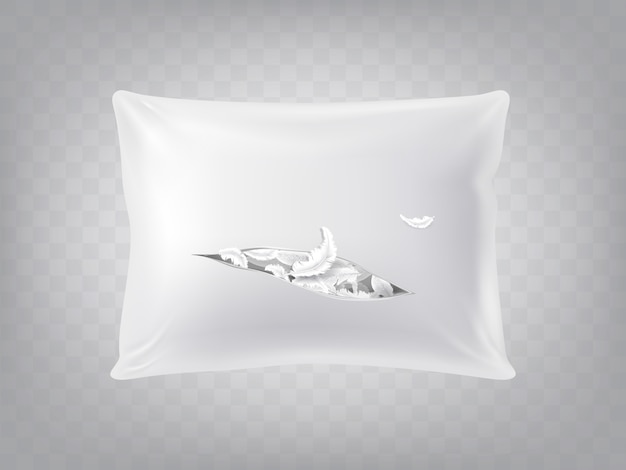 3d realistic torn square pillow isolated on translucent background