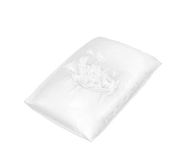 3d realistic torn square pillow. Template, mock up of white fluffy comfortable cushion