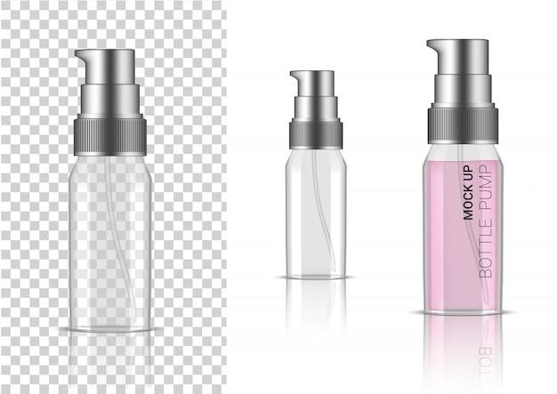 3d realistic transparent bottle pump cosmetic or lotion for skincare product packaging with silver cap Premium Vector