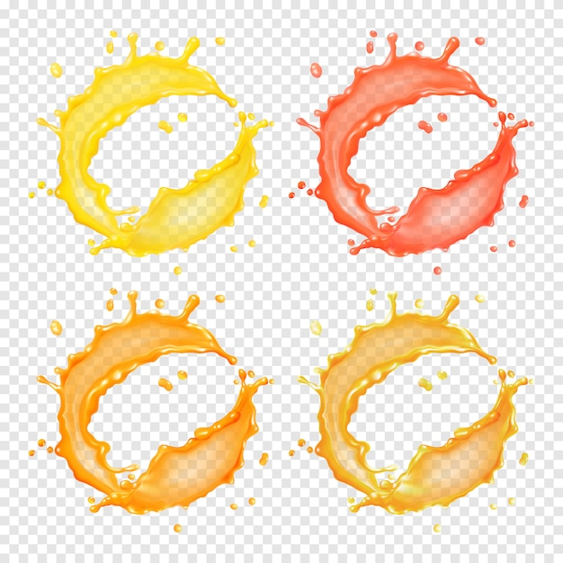 3d realistic transparent   circular splash of liquid, juice, tea, oil or paint Premium Vector