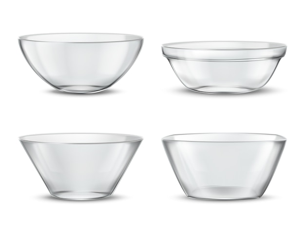 3d realistic transparent tableware, glass dishes for different food. containers with shadows Free Vector