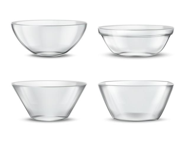 3d 현실 투명 식기, 다른 음식에 대 한 유리 접시. 그림자가있는 컨테이너 무료 벡터