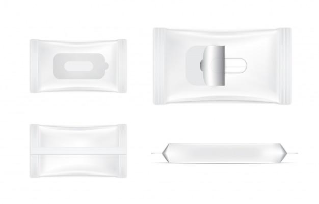 3d реалистичные мокрой протрите фольги sachet set мешок продукт упаковки иллюстрации. здравоохранение и медицинский объект. Premium векторы