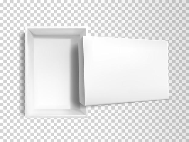 3d realistic white empty paper box Free Vector