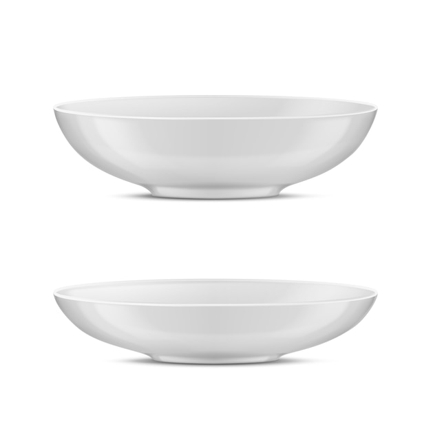 3d realistic white porcelain tableware, glass dishes for different food. Free Vector