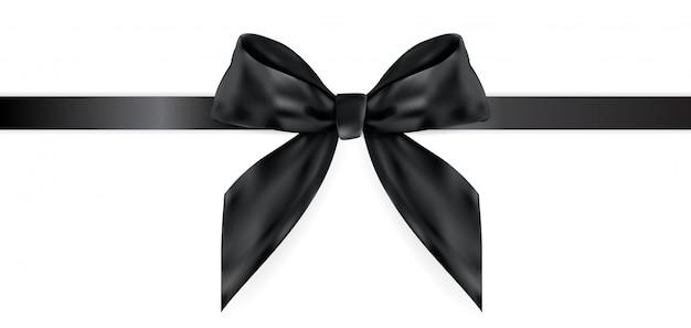 Декоративный черный бант с лентой на белом 3d realistic Premium векторы