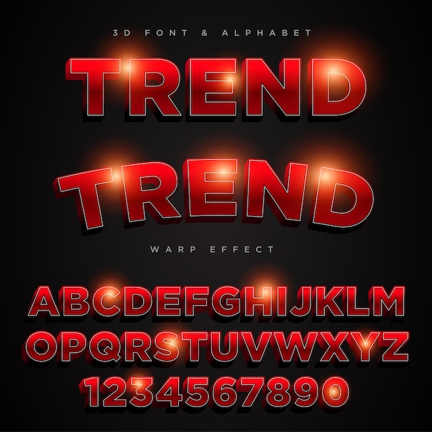 3d red stylized lettering text Premium Vector