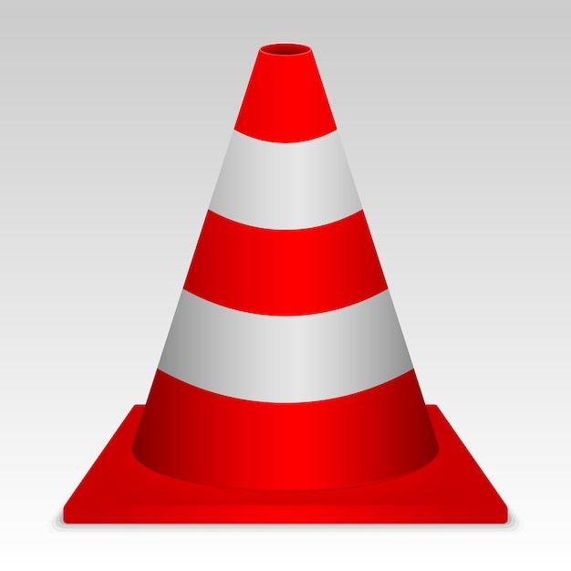 3d red traffic cone. vector sign Premium Vector