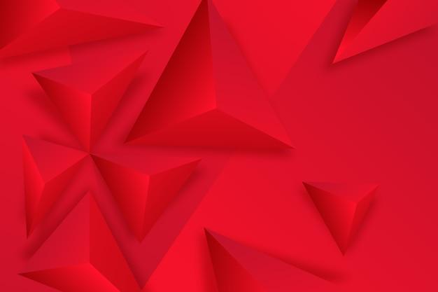 3 d赤い三角形の背景 Premiumベクター