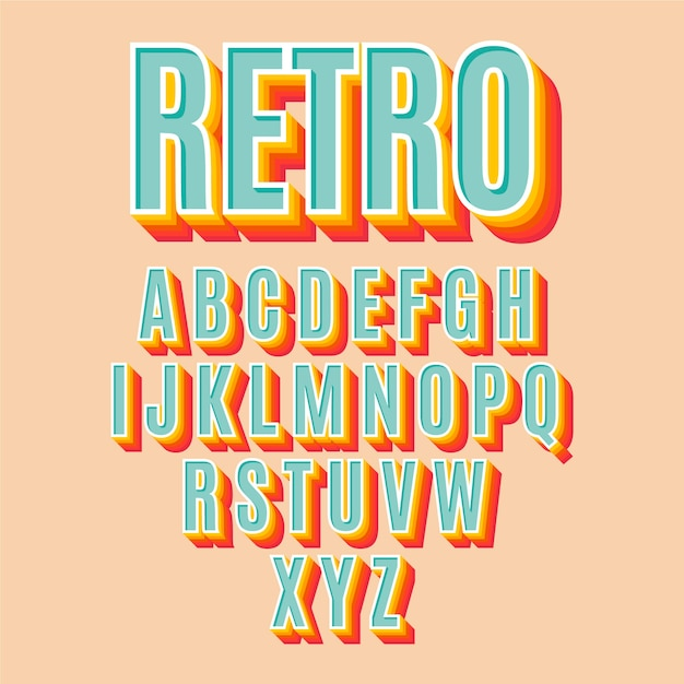 3d retro alphabet collection Free Vector