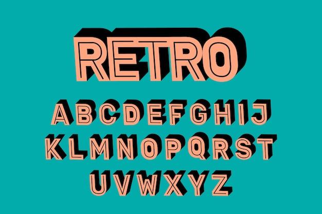 3d retro alphabet design Free Vector