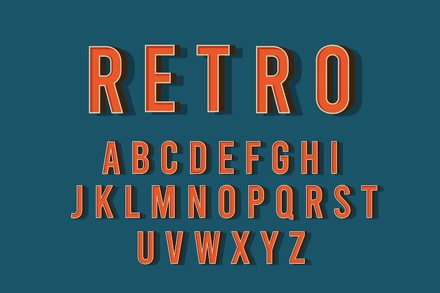 3d retro alphabet theme Free Vector