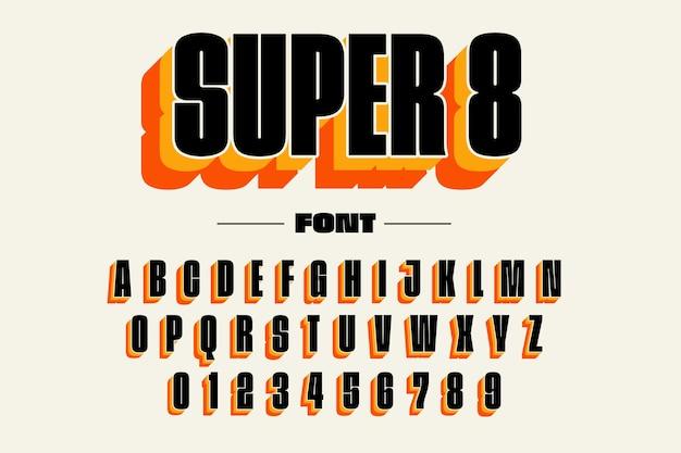 3d retro alphabet Premium Vector