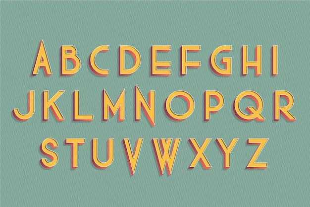 3d retro alphabet Free Vector