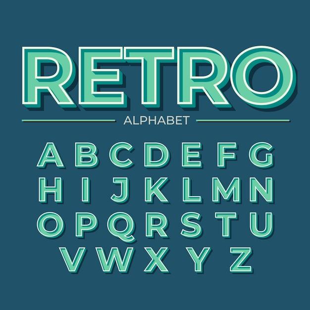 3d retro design for alphabet Free Vector