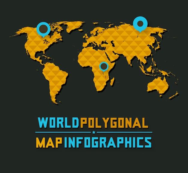 3d retro style polygonal world map on dark background Premium Vector