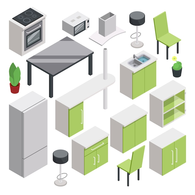 3d room design. vector isometric furniture set for kitchen Premium Vector