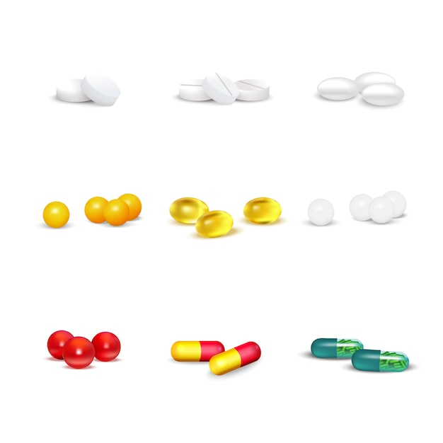 3d set of pills and capsules of various shapes and colors on white background Free Vector