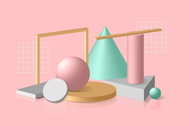3d shapes background Free Vector