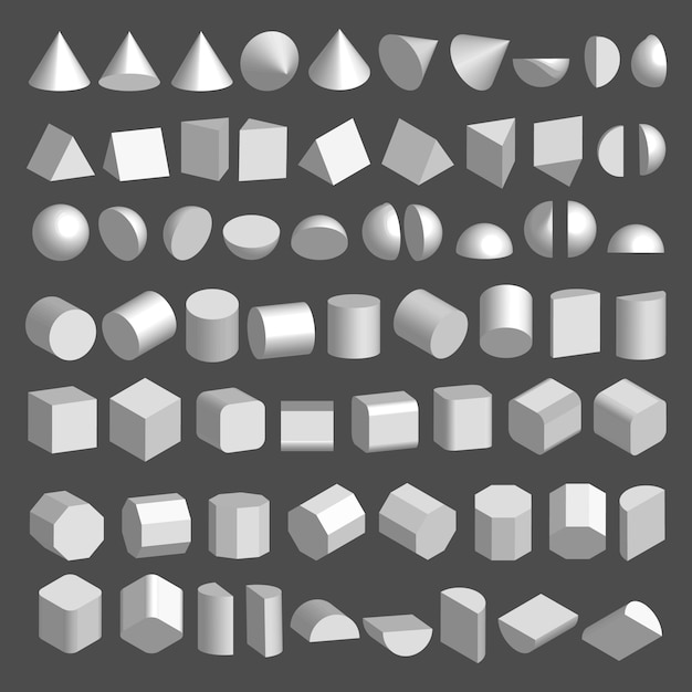 3d shapes set. Premium Vector