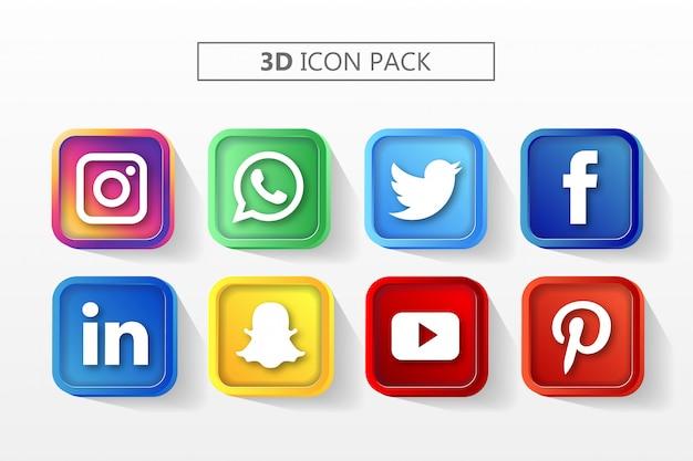 3dソーシャルメディアのアイコンを設定 Premiumベクター