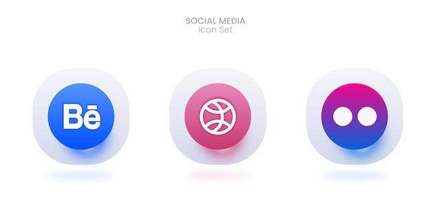 3d 소셜 미디어 아이콘 세트 프리미엄 벡터