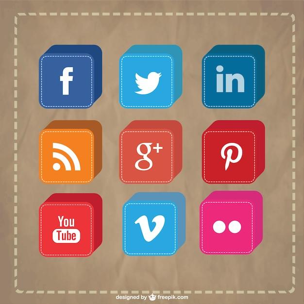 3d social media icons set Free Vector