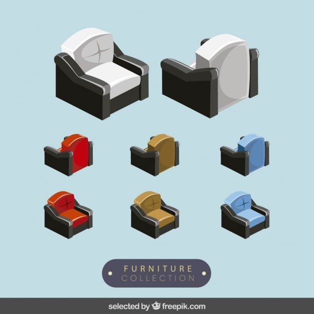 3d sofas collection Free Vector