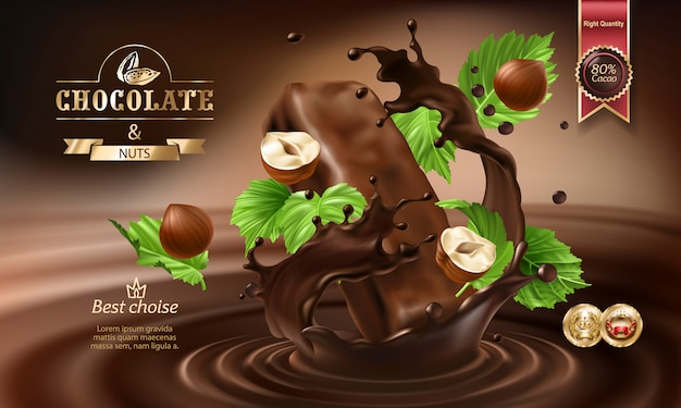 3d splashes of melted chocolate and milk with falling pieces of chocolate bars. Free Vector