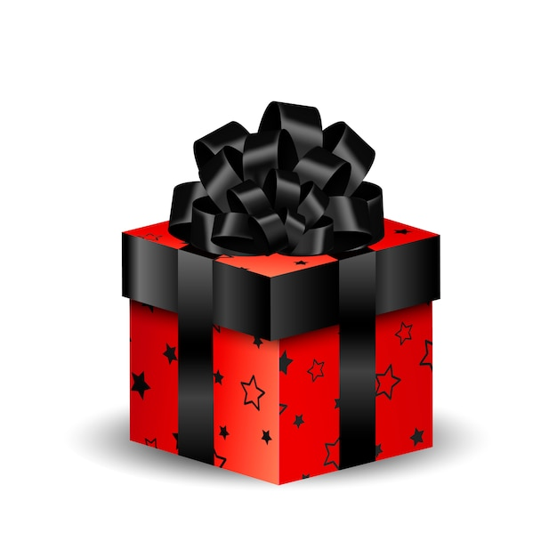 3d square packing box black and red Premium Vector