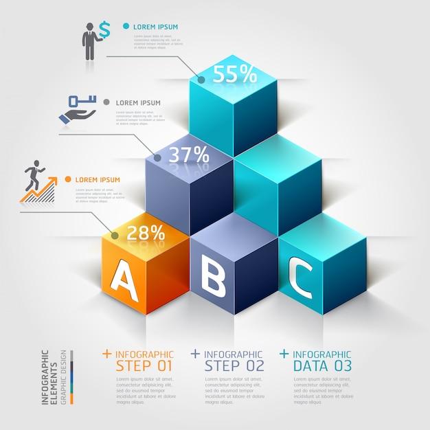 3d staircase diagram modern business steb options. Premium Vector