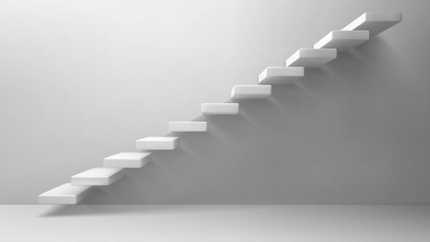 3d лестница белая лестница на глухой стене Бесплатные векторы