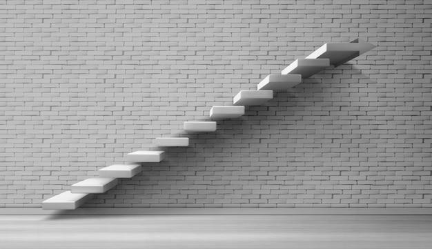 3d лестница белая лестница на кирпичной стене Бесплатные векторы