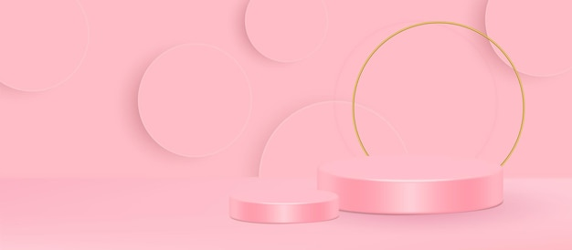 3d stand vector illustration. geometric shape pink cream scene minimal 3d vector illustration. Premium Vector