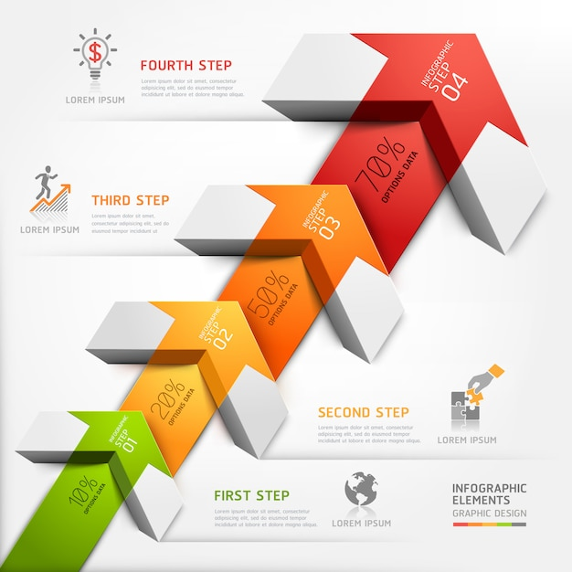 3d step up arrow staircase diagram business. Premium Vector