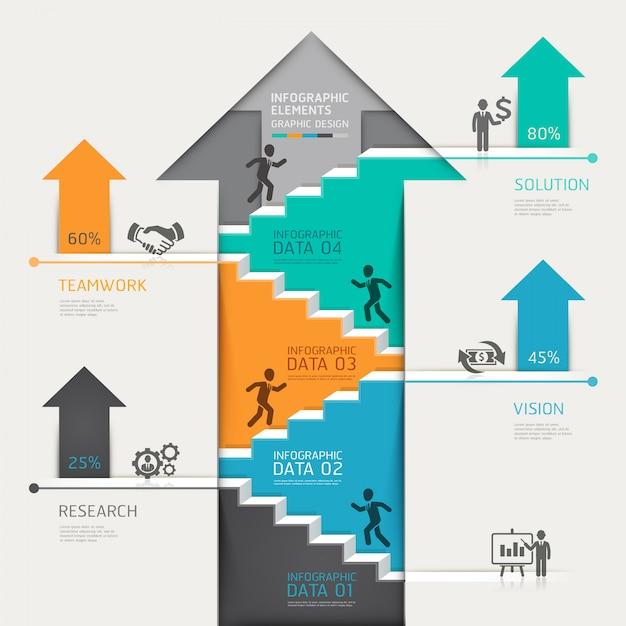 3d step up arrow staircase diagram business. Premium Vector