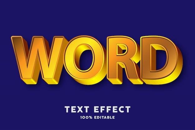 3d strong bold gold style text effect Premium Vector