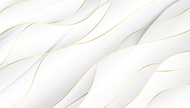 3d style flowing white and golden wavy background Free Vector