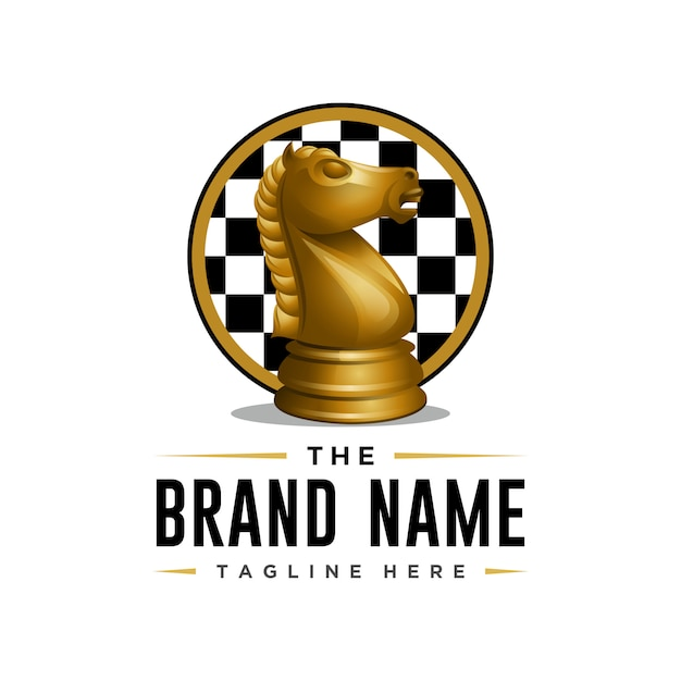 3d style knight chess logo template Premium Vector