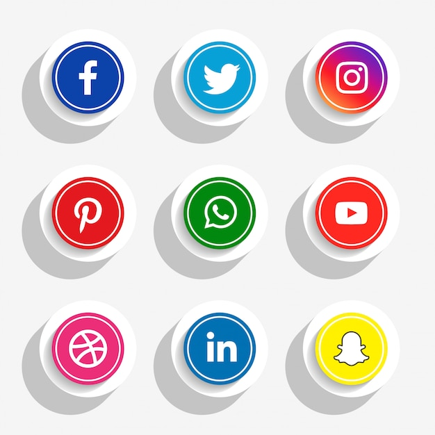 3d style social media icons set Free Vector
