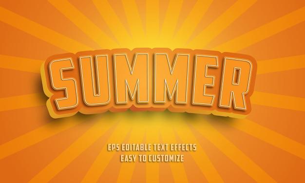 3d 여름 편집 가능한 텍스트 효과 스타일 프리미엄 벡터