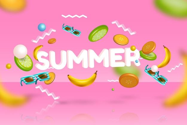 3 dの夏のバナナとサングラス 無料ベクター